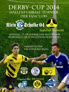Plakat Derby-Cup 2014 mit den Fanclub-Logos